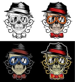 Tragender hut und schutzbrillen des modernen radfahrer-schädels mit stammes- hintergrund, handzeichnung mit 4 variations-farbe