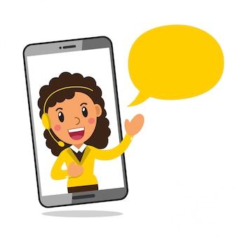 Tragender kopfhörer der charakter-call-center-service-frau auf smartphoneschirm