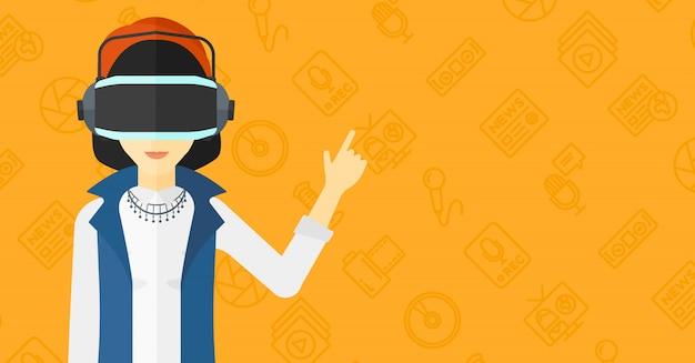 Tragender kopfhörer der virtuellen realität der frau