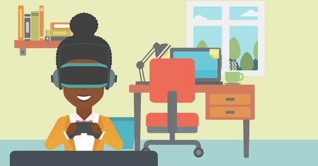Tragender kopfhörer der virtuellen realität der frau.