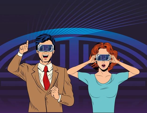 Tragender kopfhörer der virtuellen realität der paare