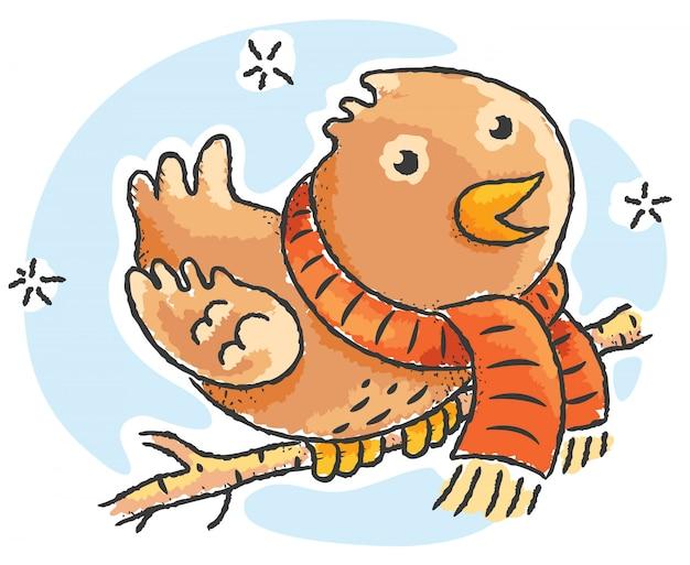Tragender schal des karikaturvogels an einem wintertag