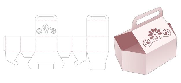 Tragender sechseckiger behälter mit schablonierter mandala-stanzschablone