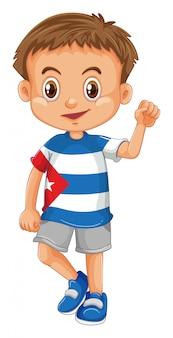 Tragendes hemd des kleinen jungen mit kuba-flagge