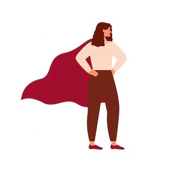 Tragendes kap der starken superheldfrau. feminismuskonzept, frauenpower.