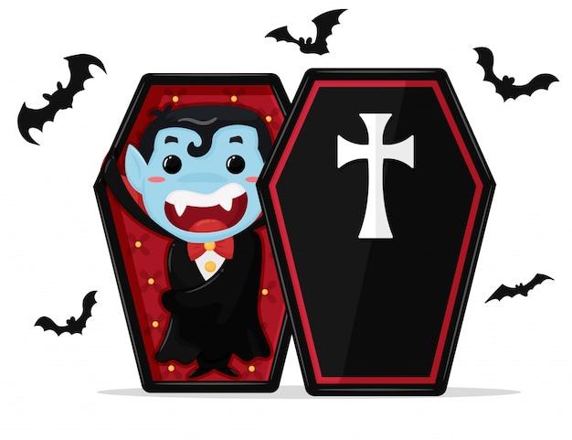 Tragendes kostüm dracula des netten karikaturjungen genießen die party auf halloween.