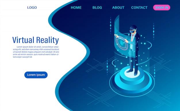 Tragendes schutzbrille vr des geschäftsmannes mit rührender schnittstelle in welt der virtuellen realität