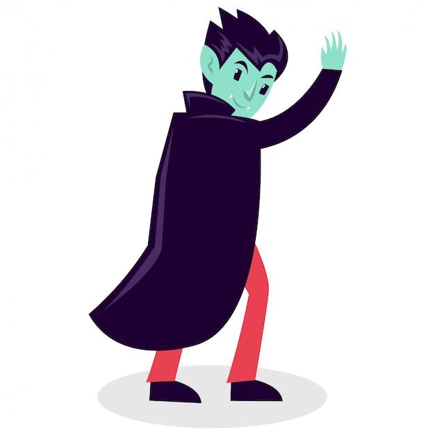 Tragendes vampirkostüm des jungen in halloween-party