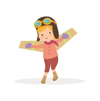 Tragendes versuchskostüm des netten kindes und spielen des flugzeuges spielen