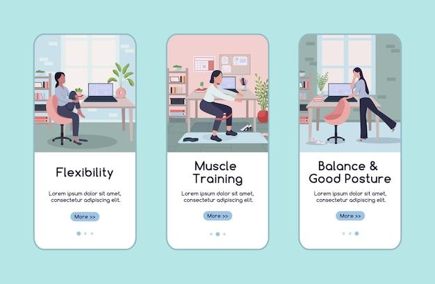 Training am arbeitsplatz beim onboarding der mobilen app-bildschirm-flat-vorlage. gleichgewicht, gute körperhaltung. walkthrough-website-schritte mit charakteren. ux, ui, gui-smartphone-cartoon-schnittstelle, falldrucke-set