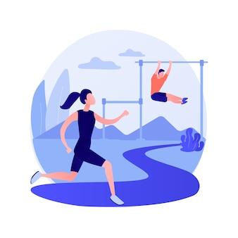 Training im freien. gesunder lebensstil, joggen unter freiem himmel, fitnessaktivität. männlicher athlet, der im park läuft. muskelsportler, der draußen trainiert. vektor isolierte konzeptmetapherillustration