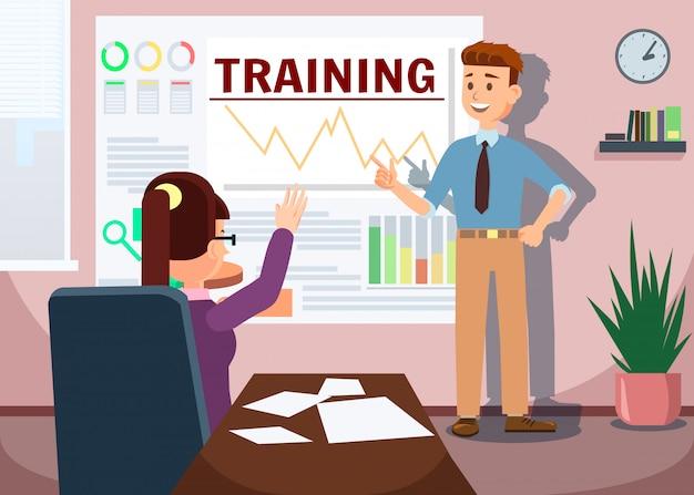 Training mit dem mann, der die analyse der grafiken darstellt.