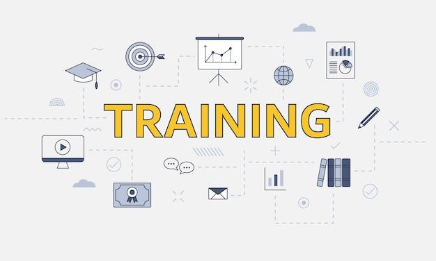 Trainingskonzept mit icon-set mit großem wort oder text auf mittlerer vektorillustration