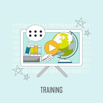 Trainingskonzept: wissen springt von der webseite im linienstil heraus