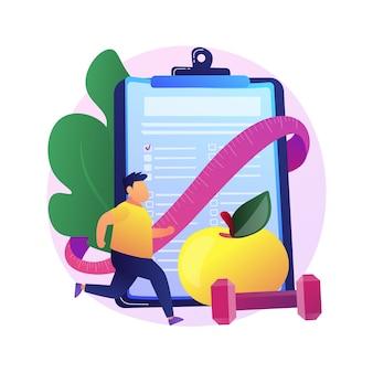 Trainingsplan. zeichentrickfigur wird fit. muskelaufbau, fettabbau, fitness. mann, der gewichthebenübungen mit hanteln und laufen macht.