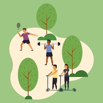 Trainingssport der jungen leute am park