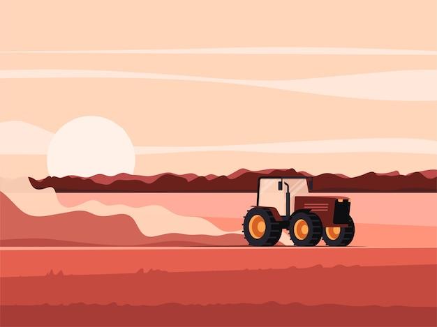 Traktor auf einer feldillustration