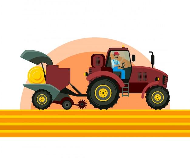 Traktor-ballenpresse in der feld-vektor-illustration