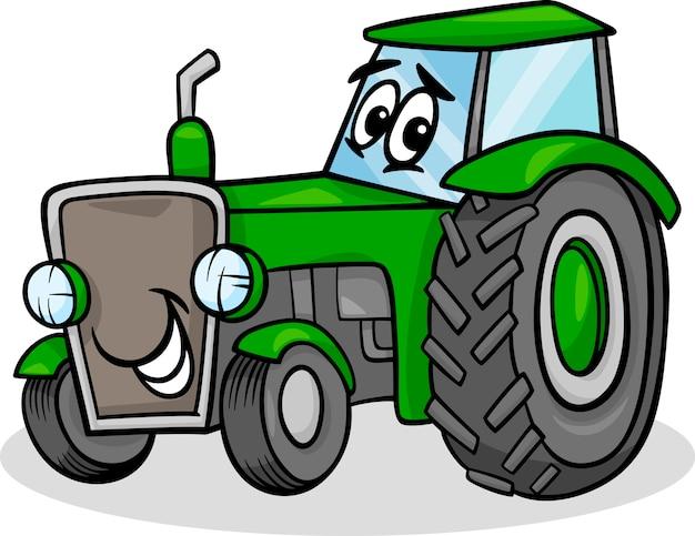 Traktor charakter cartoon illustration