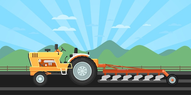 Traktor, der feld für das säen pflügt