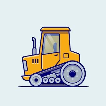 Traktor fahrzeug cartoon. gebäudetransport isoliert
