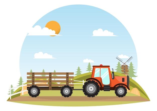 Traktor. landwirtmaschinenlieferung innerhalb des bauernhofes