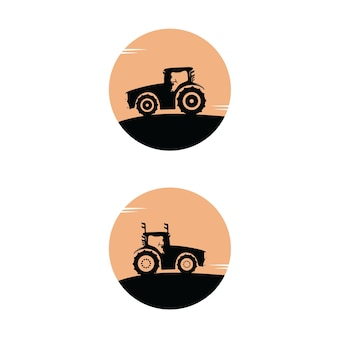Traktor-lkw-silhouette-set