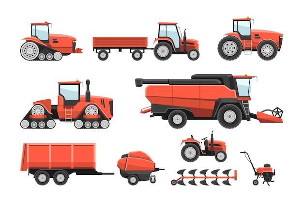 Traktor-maschinensatz der landwirtschaftlichen ranch schwere technik. mähdrescher aussaat erntemaschine, anhänger für getreidetransport ackerland industrie fahrzeug vektor-illustration isoliert auf weiss