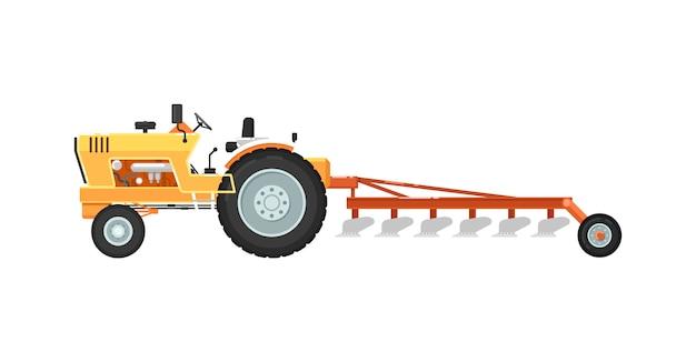Traktor mit dem pflügen der ausrüstungsillustration