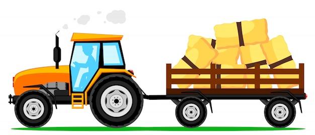 Traktor mit einem anhänger des heus auf weißem hintergrund. landwirtschaftliche maschinen