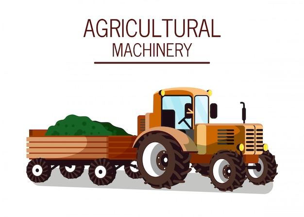 Traktor mit wagenbefestigungs-flacher illustration
