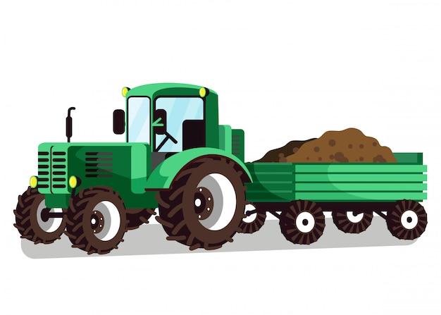 Traktor mit wagenbefestigungs-vektor-illustration