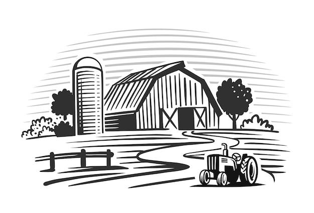 Traktor neben der scheune auf dem bauernhof.