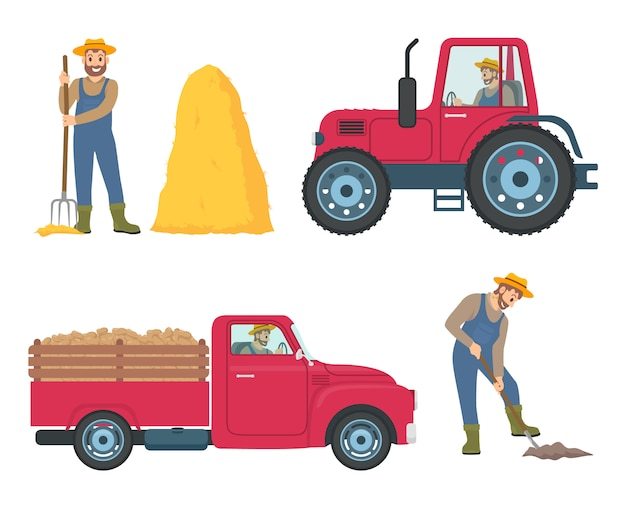 Traktor und lkw icons set