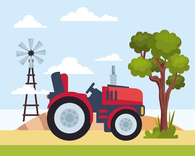 Traktor und windmühle