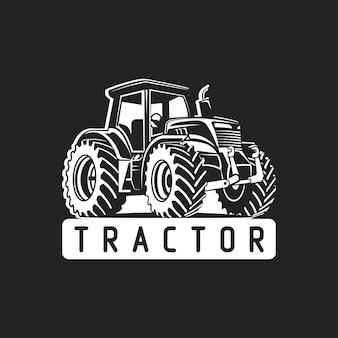 Traktorvektor schwarz und weiß