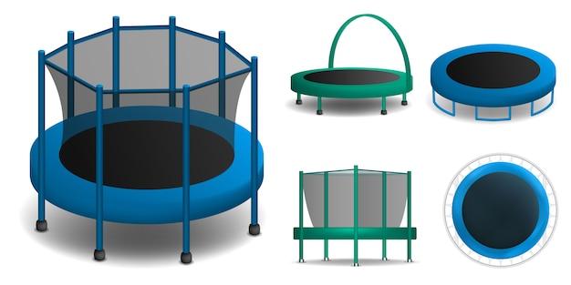 Trampolinikonen eingestellt. realistischer satz trampolinevektorikonen für das webdesign lokalisiert auf weißem hintergrund