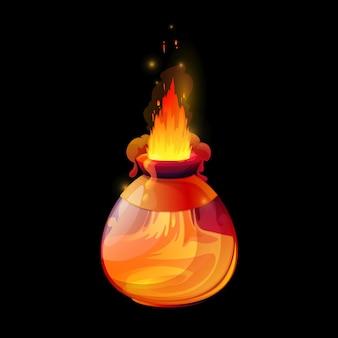 Trankflasche mit feuerflammen, vektor-magie-spielschnittstelle, gui- oder ui-designelement. cartoon-alchemisten-elixier, hexengift oder liebestrank in glasflasche mit orangefarbener flamme, rauch und funkeln