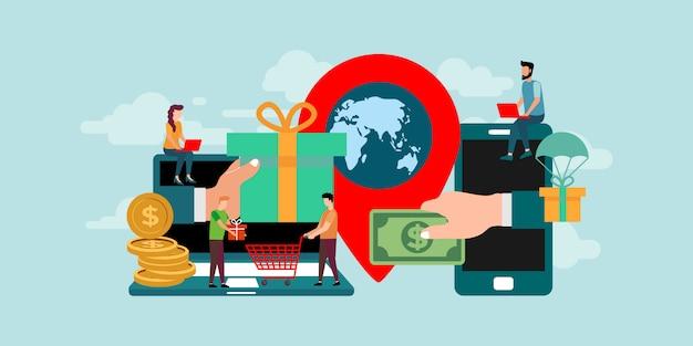 Transaktion menschen charakter konzept. flacher anleger bringt online geld in ideen.