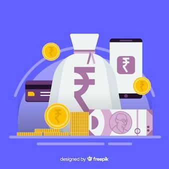 Transaktionen mit indischen rupien