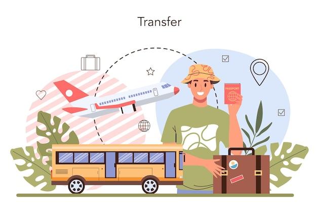 Transferservicekonzept touristentransport vom flughafen zu einem hotel