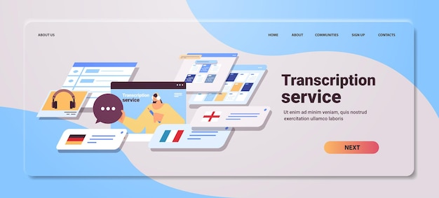 Transkriptionistin in kopfhörern transkriptionsdienst internet-networking