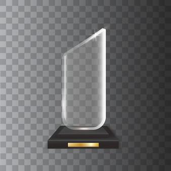 Transparent realistic blank glass trophy award