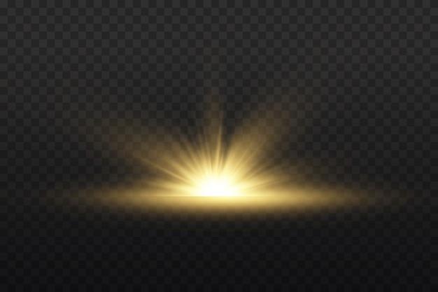 Transparent strahlende sonne, heller blitz. gelbes leuchtendes licht explodiert auf einem transparenten hintergrund. einen hellen blitz zentrieren. funkelnde magische staubpartikel. heller stern. funkelt.