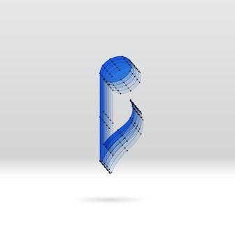 Transparente 3d-musiknote mit gepunktetem drahtschema