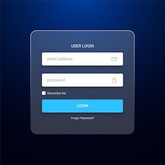 Transparente anmeldeformularvorlage für benutzer
