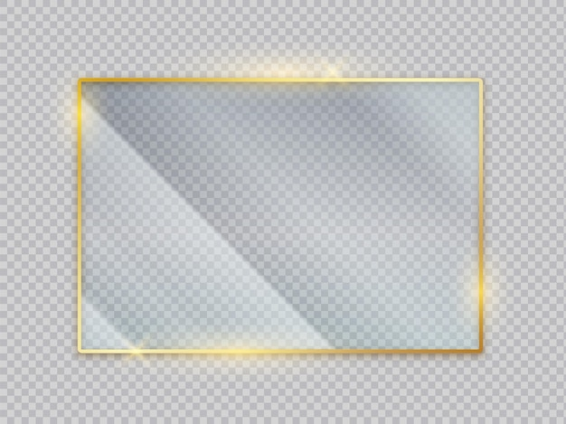 Transparente banner aus goldglas. goldener rahmen mit blendeffekt. vektorbild quadratische acryl isolierte bildschirmvorderansicht mit kristallanzeige