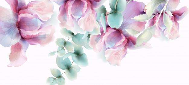 Transparente blumen aquarell. provence rustikales plakat. hochzeitskarte, dekore für geburtstagszeremonien