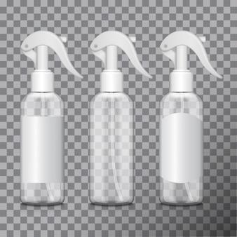 Transparente flasche mit zerstäuber. flasche medizinische phiole, flasche, flakon mit verschiedenen etiketten