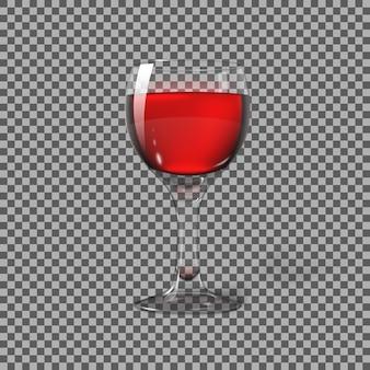 Transparente fotorealistische lokalisiert auf kariertem weinglas mit rotwein